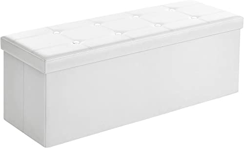 SONGMICS 43 Inches Faux Leather Folding Storage Ottoman Bench