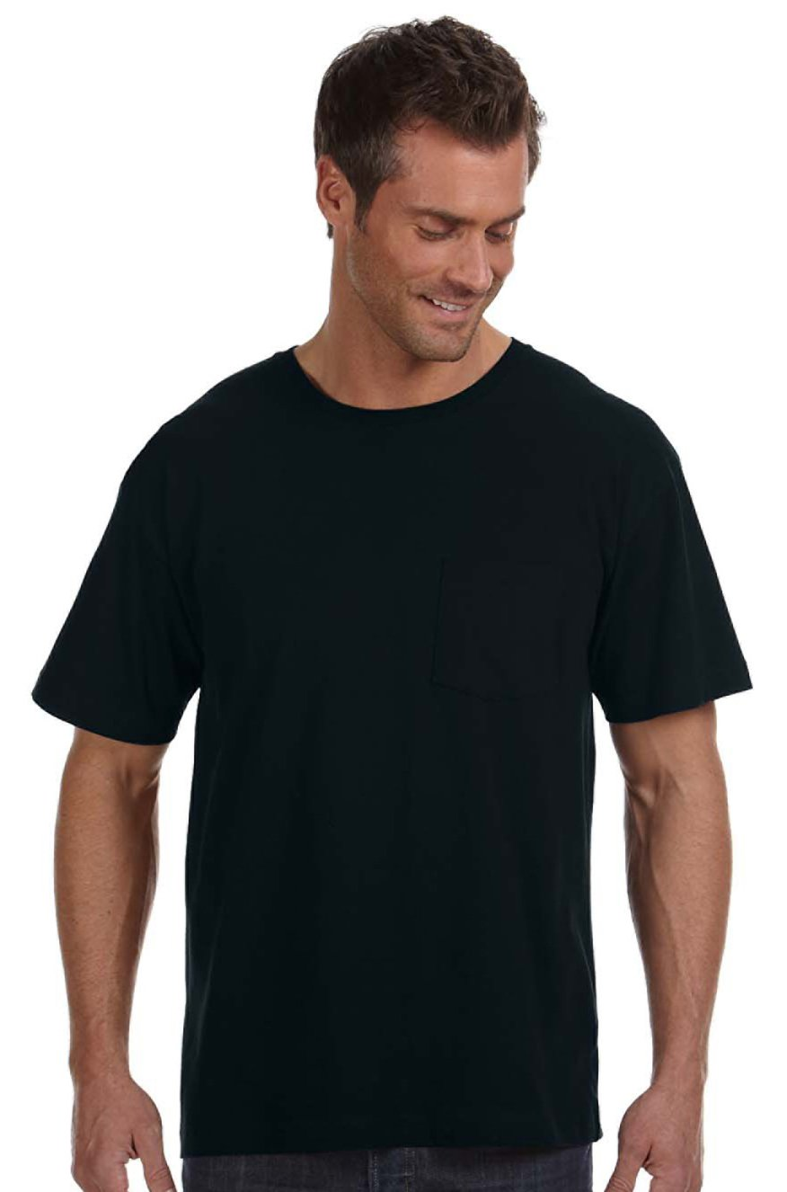 LAT Fine Jersey Pocket T-Shirt, Black, Large. (Pack of 3)