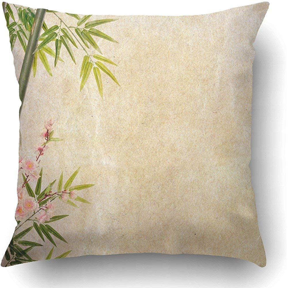 I DO Staropor Throw Pillow Covers Yellow Japanese Bamboo and Plum Blossom on Old Antique Japan Draw Chinese Tree Oriental China Wood Polyester Square Hidden Zipper Decorative Pillowcase