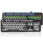 AIURTECHNIC Mechanical Keyboard Black Switch Axis USB Typewriter Retro Steampunk 104keys Keyboard with Mixed Light LED… 6