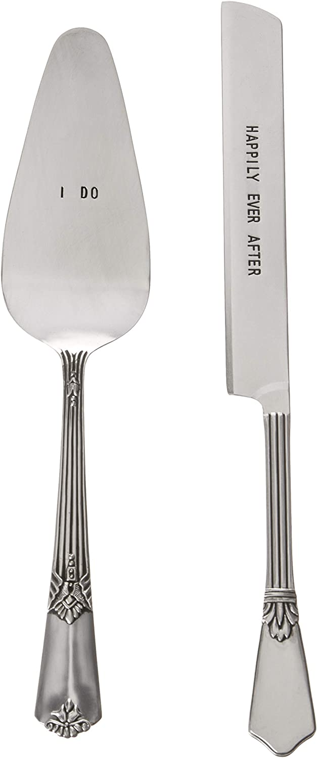 Mud Pie Wedding Cake and Knife Serving Set, Silver