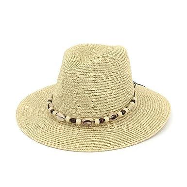 2398fb65ba20a Gorros verano estilo sombrero paja ocasional de sombrero con concha jazz  sombrero panamá hombres mujer jpg