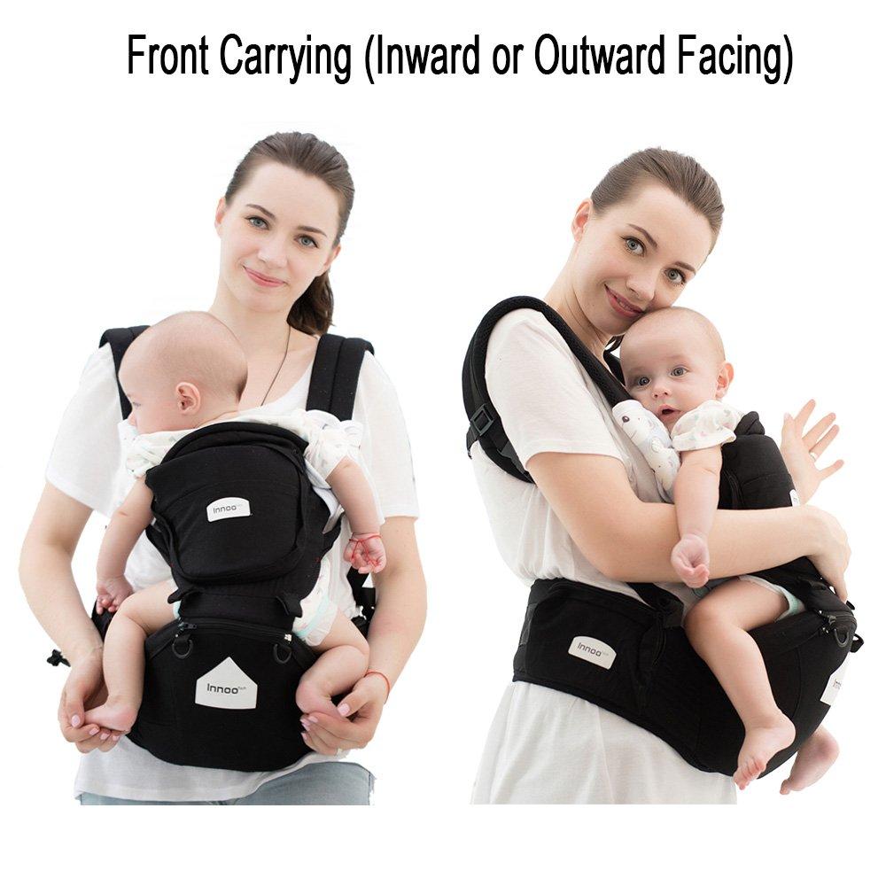 Innoo Tech Porte-Bébé 100% Coton, Porte-bébés ventraux  dorsal, Porte bebe  randonnee, Protection dorsale et lombaire optimale, Portage sur le dos ou  sur les ... 5748f981cd3f