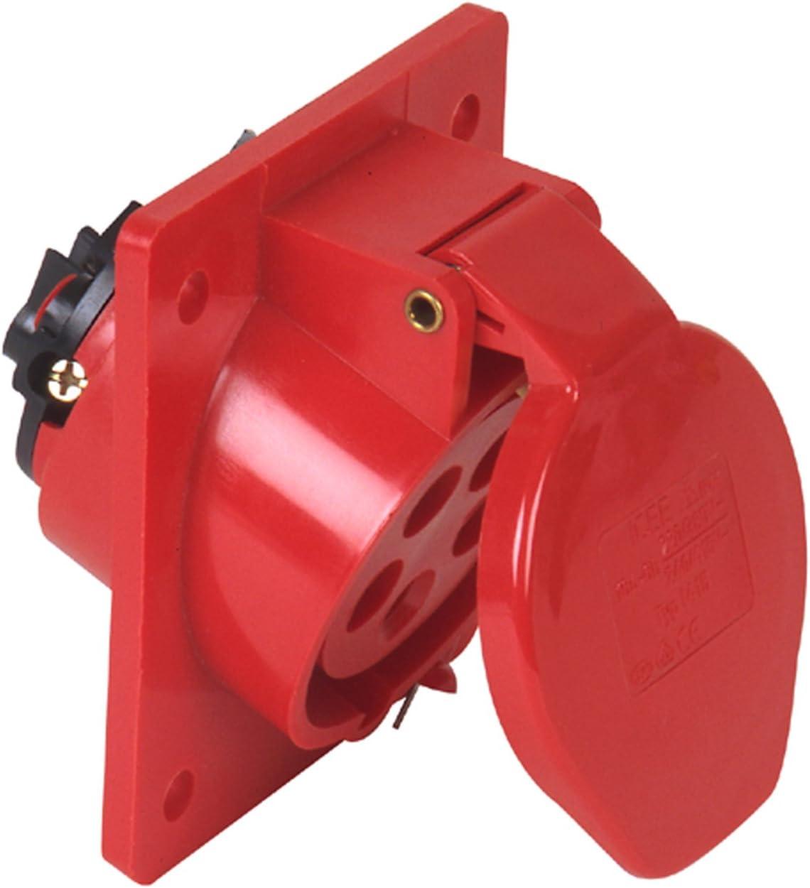 Presa CEE da parete 5-poli Unitec 47414L 32 A colore: rosso