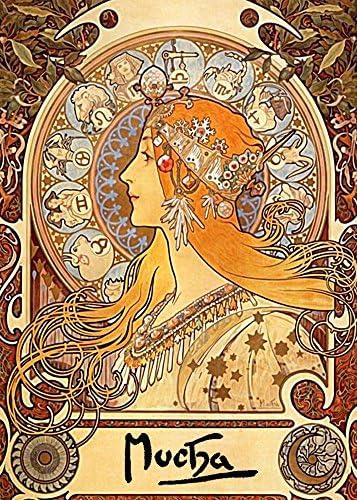 絵画風 壁紙ポスター (はがせるシール式) アルフォンス・ミュシャ 黄道12宮 1896-97年 Zodiac キャラクロ K-MCH-006S1 (576mm×806mm) 建築用壁紙+耐候性塗料