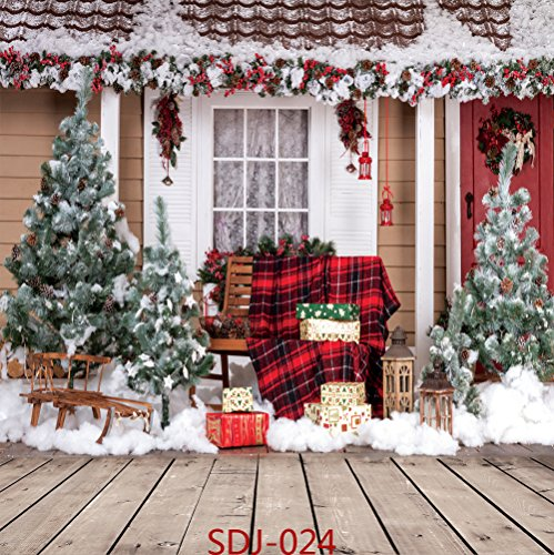 10x10ft Christmas Tree & Outdoor Snow Landscape Theme Pictorial Cloth Poly Fabric Photo Backdrops Customized Studio Background Studio Props SDJ-024 -