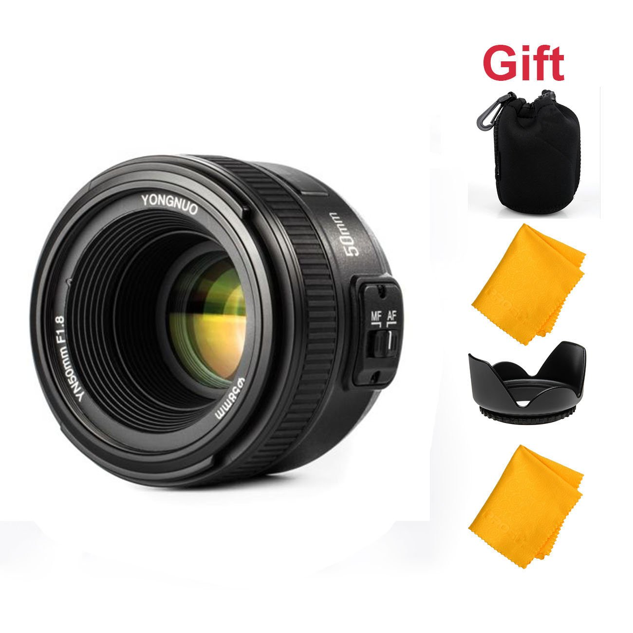 YONGNUO 50mm F1.8 1:1.8 Standard Prime Lens Large Aperture Auto Manual Focus AF MF for Nikon DSLR Camera