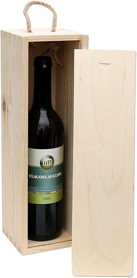 Holz Kunst Handwerk EU Caja de Madera para 1 Botella de Vino para despegar (11 x 10 x 35 cm): Amazon.es: Juguetes y juegos