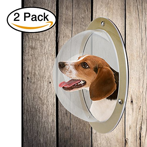Lemonda 2Pack Durable Acrylic Dome Pet Dog Fence Peek Window for Cats Dogs Prevent Fence Jumping, Reduce Barking & Digging Including All Necessary Bolts & Nuts - Peek Window