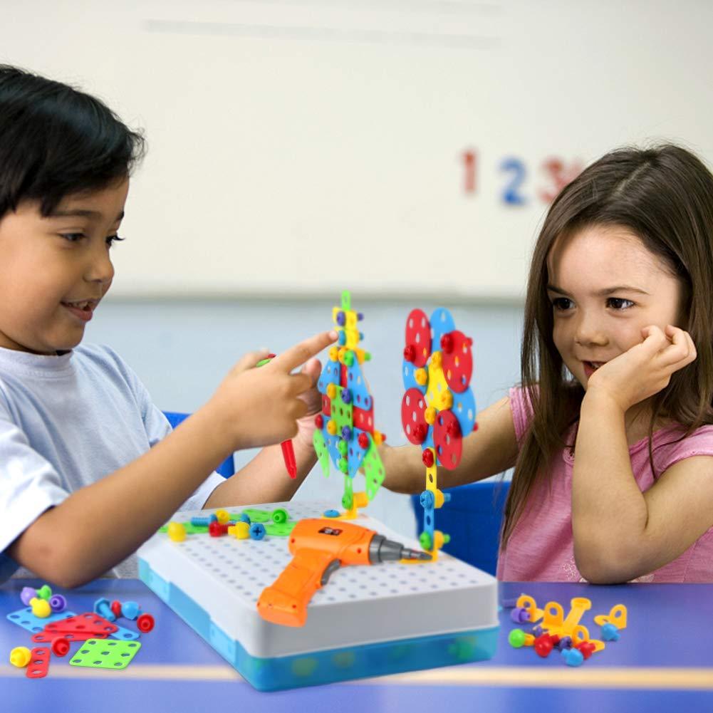 Symiu Juguete Multiuso Divisible de Construcción con Taladro Eléctrico Juguetes Niños Multiusos Herramienta Caja 3 4 5 Años