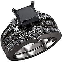 Haluoo 2-in-1 Wedding Band, Women's 2 PCS Princess Cut CZ Bridal Engagement Wedding Ring Set Halo Eternity Love…