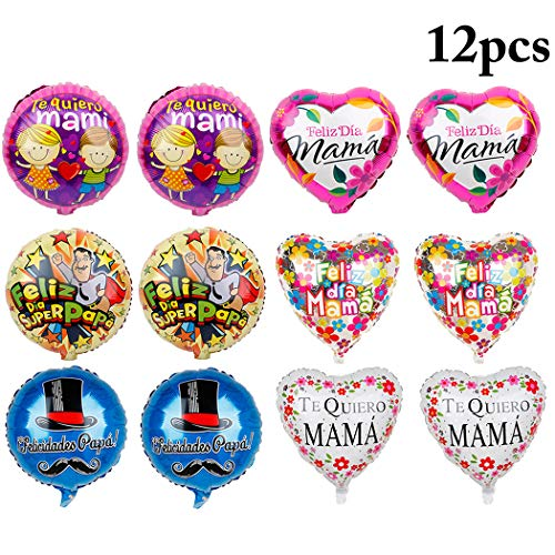 JUSTDOLIFE 18'' Foil Balloons Novelty Party Mylar Balloons for Fathers Day or Mothers Day