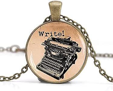 Old Typewriter - Colgante de estilo vintage, diseño de máquina de escribir, joyería antigua, collar de escritura, regalo para escritor, colgante de cúpula de cristal