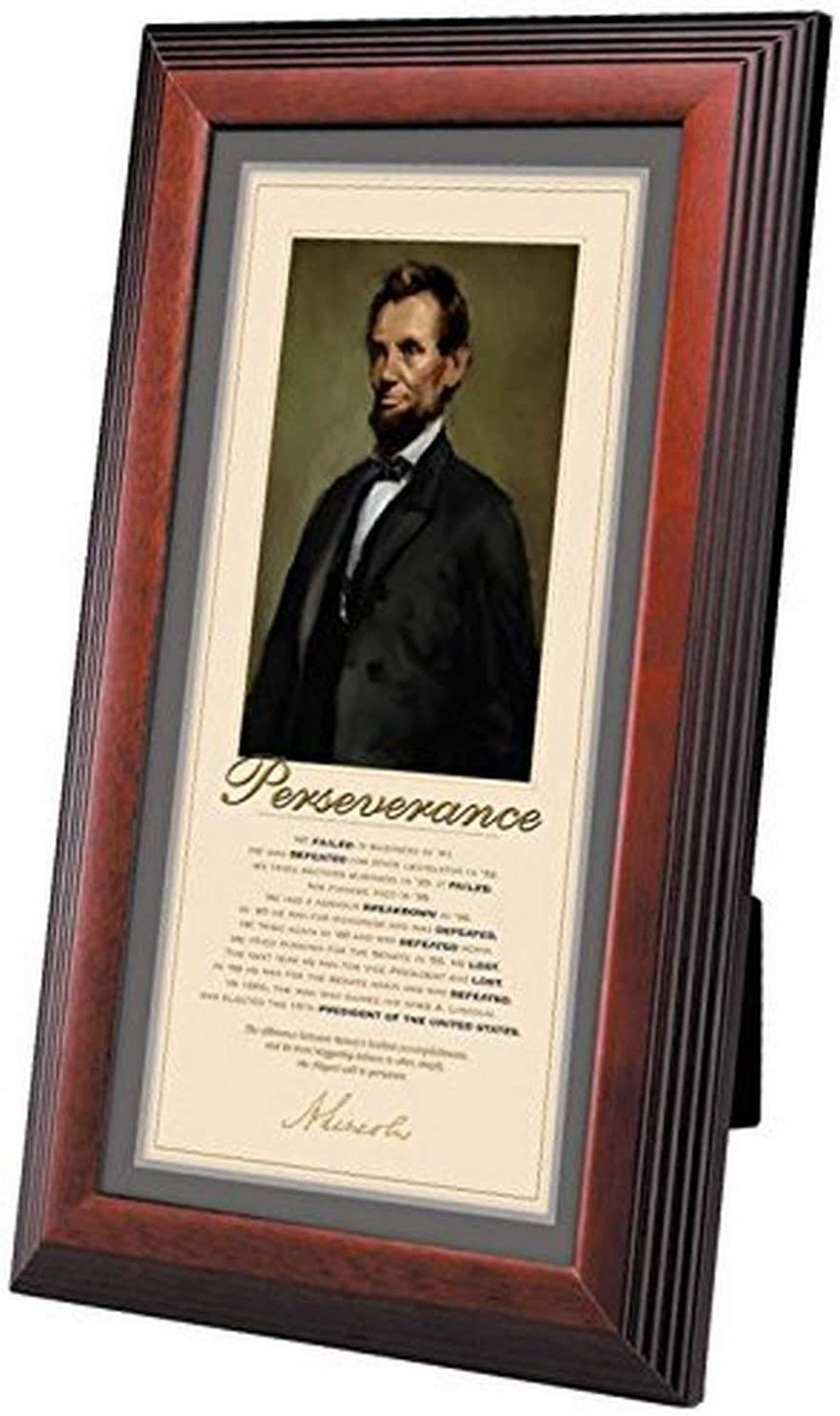 Successories 1.25 in. Stepped Mahogany-Lincoln Perseverance Framed Desktop Print