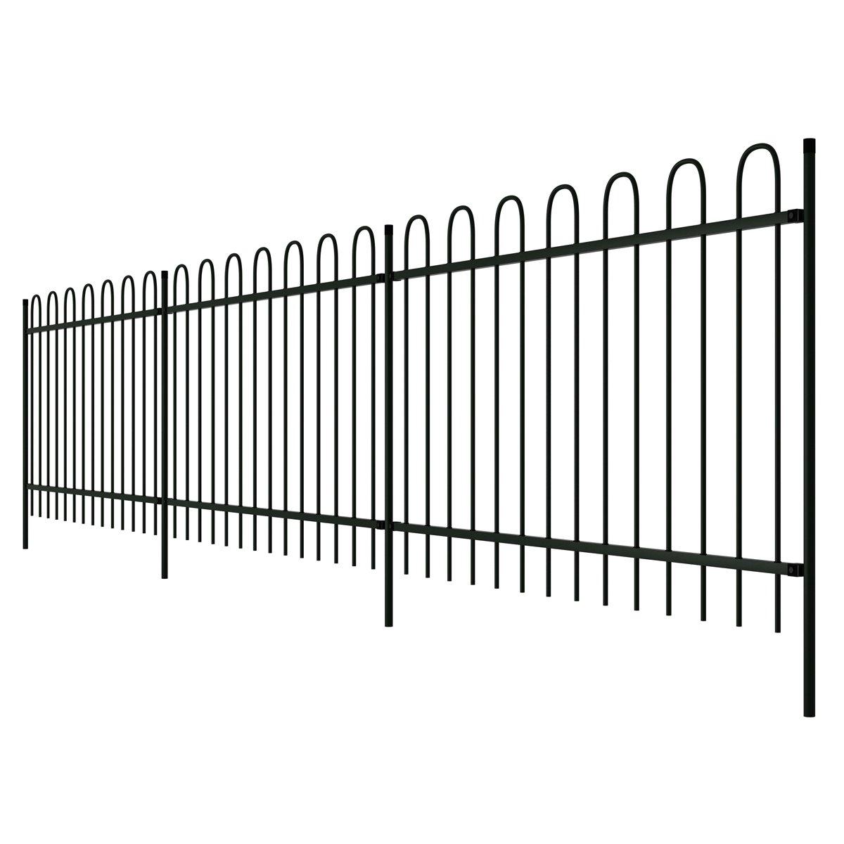 vidaXL Dekorativer Zaun Gartenzaun Stahl schwarz Bügelform 120 cm
