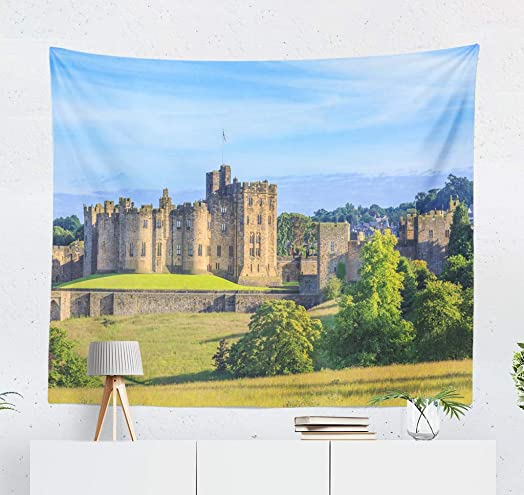 ONELZ Wall Hanging Tapestry Castle and Home English Blue Border Bridge England Family Field Decor Collection Bedroom Living Room 60 L x 60 W Polyester Polyester Blend