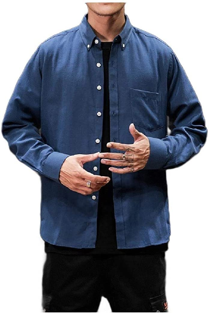 Doufine Mens Oversized Long Sleeve Pocket Simple Single Breasted T-Shirts