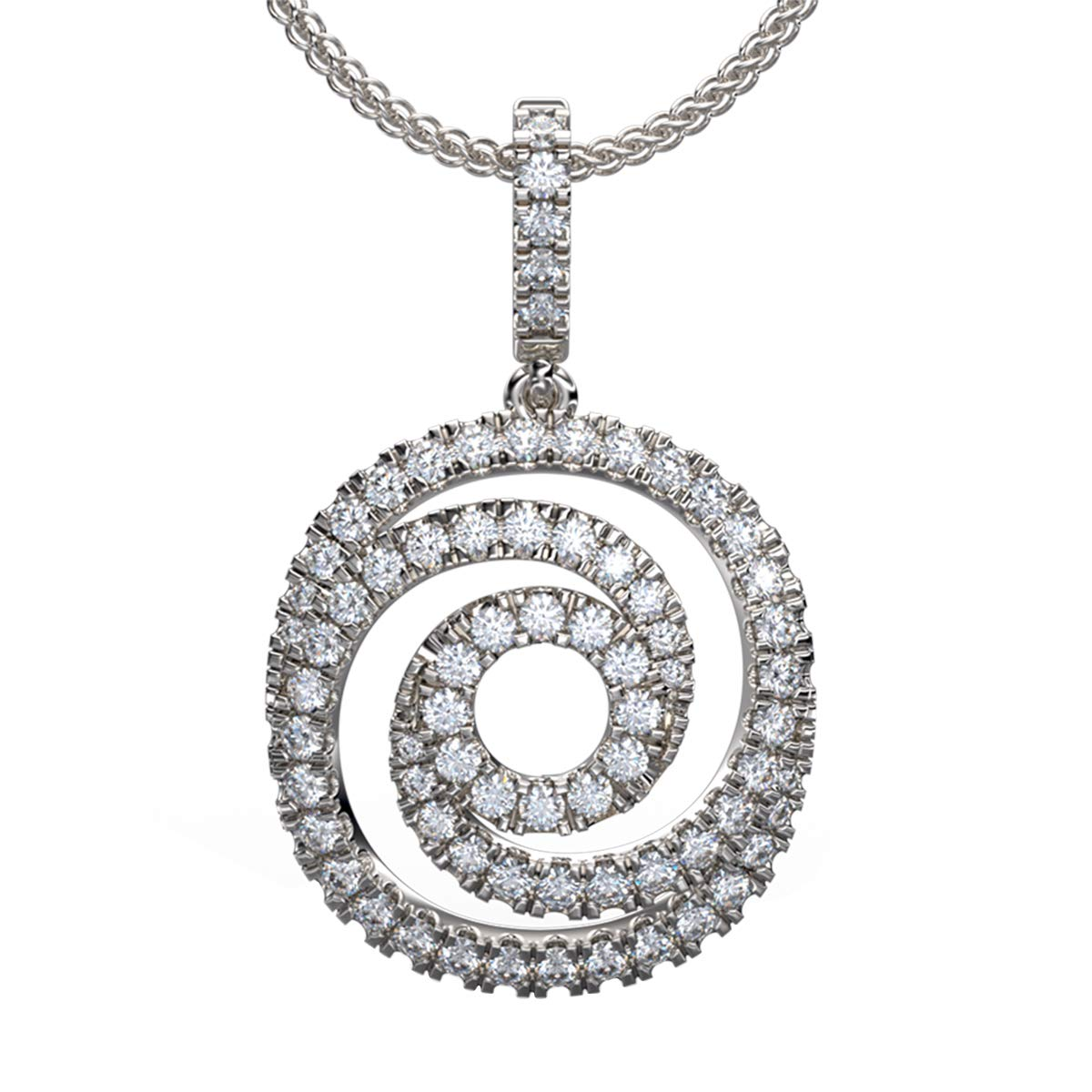 0.75 Ct Round Cut Simulated Diamond Swirl Pendant With Chain .925 Sterling Silver