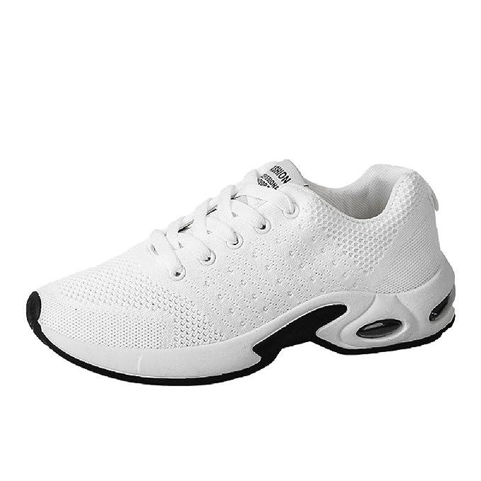 ❤ Zapatos de Choque para Hombres, Color sólido de la Moda ventilación Cruzada Atado amortiguación Zapatos para Correr Zapatos de Gimnasia Absolute: ...