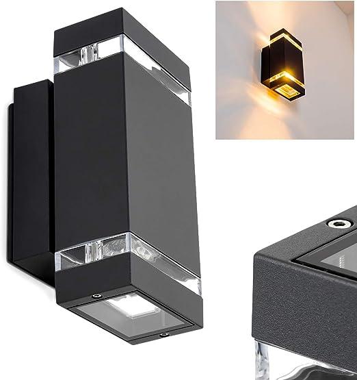 Aplique de exterior Edevik 23,5cm negro - 2x GU10 35W - Lámpara de ...