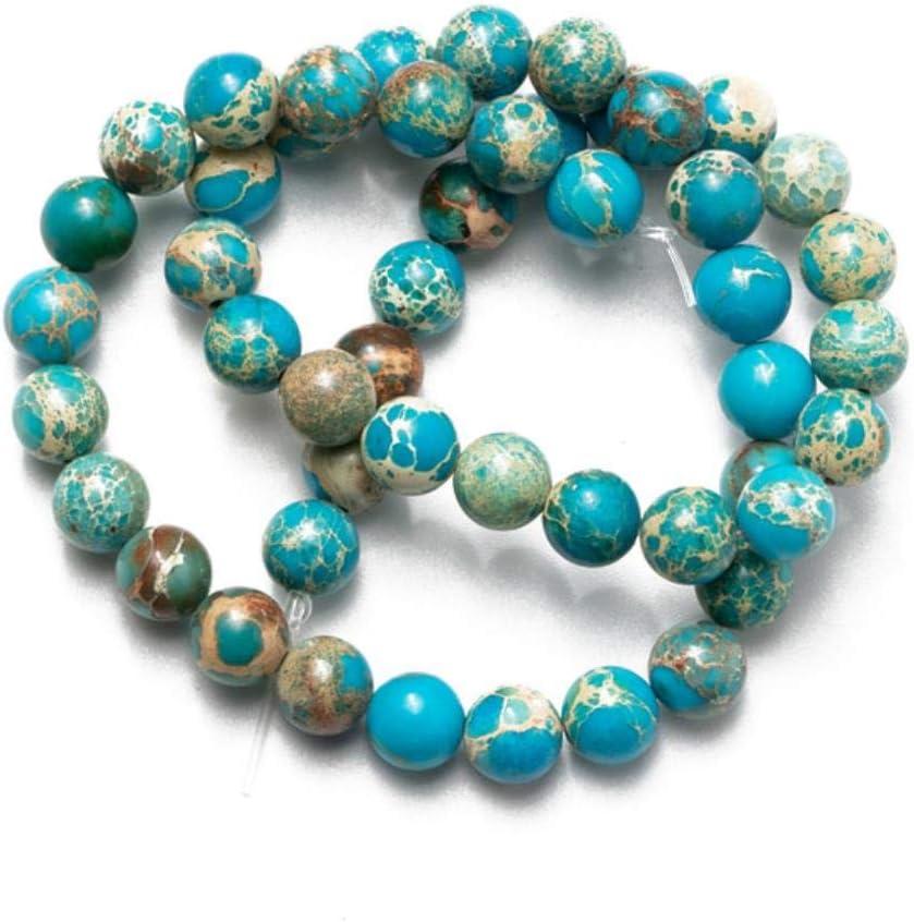 Cuentas naturales de jaspe de sedimentos marinos de color azul lago para bisutería, collares, pulseras, pendientes, bricolaje, azul, 6 mm (alrededor de 63 piezas)