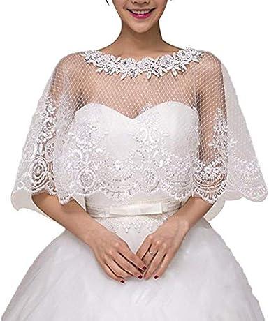 Details about  /Lady Shrug Bolero Cape Wraps Shawl Stole Lace Chiffon Floral Rose Bridal Wedding