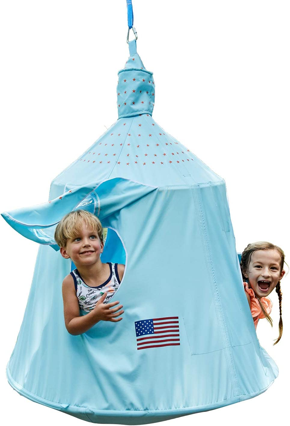 HAPPYPIE Kids Outdoor Waterproof Tree Play Tent, Hanging Space Capsule Swing Hammock, Ambient Lights Installation Accessories Included Sky Blue