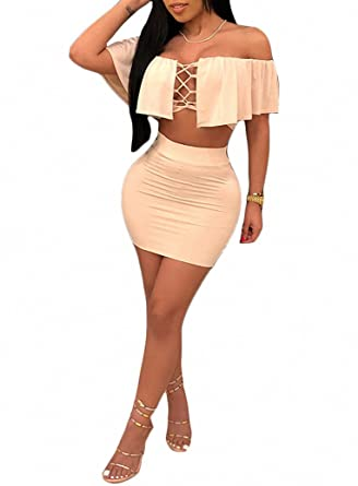 ffc6cd20d1ff Ophestin Womens Sexy Off Shoulder Lace Up Cut Out 2 Piece Outfits Crop Top  Mini Dresses