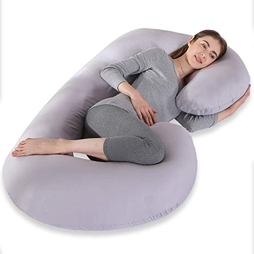 INSEN Pregnancy Body Pillow with Jersey Cover,C Shaped Full Body Pillow for Pregnant Women