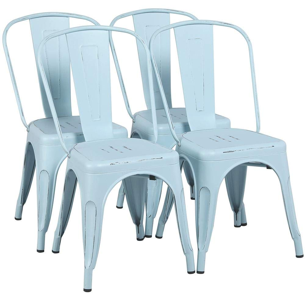 Yaheetech Metal Chairs Stackable Side Chairs Tolix Bar Chairs Kitchen Dining Room Chairs with Back Indoor Outdoor lassic Chic Industrial Vintage Bistro Caf Trattoria Restaurant Dream Blue, Set of 4