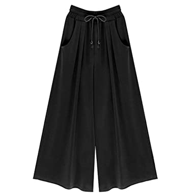5233785fd39bc Aancy Loose Fit Office Women Summer High Waist Wide Leg Pants Casual Trousers  2018 Plus Size Beachwear at Amazon Women s Clothing store