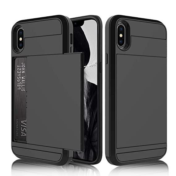 low priced 02a1f 89413 USHAWN Compatible iPhone Xs Max Case, Hybrid Slim Armor Wallet Shockproof  Anti-scratch Hard Card Slot Holder Protection TPU Case Cover Compatible  with ...