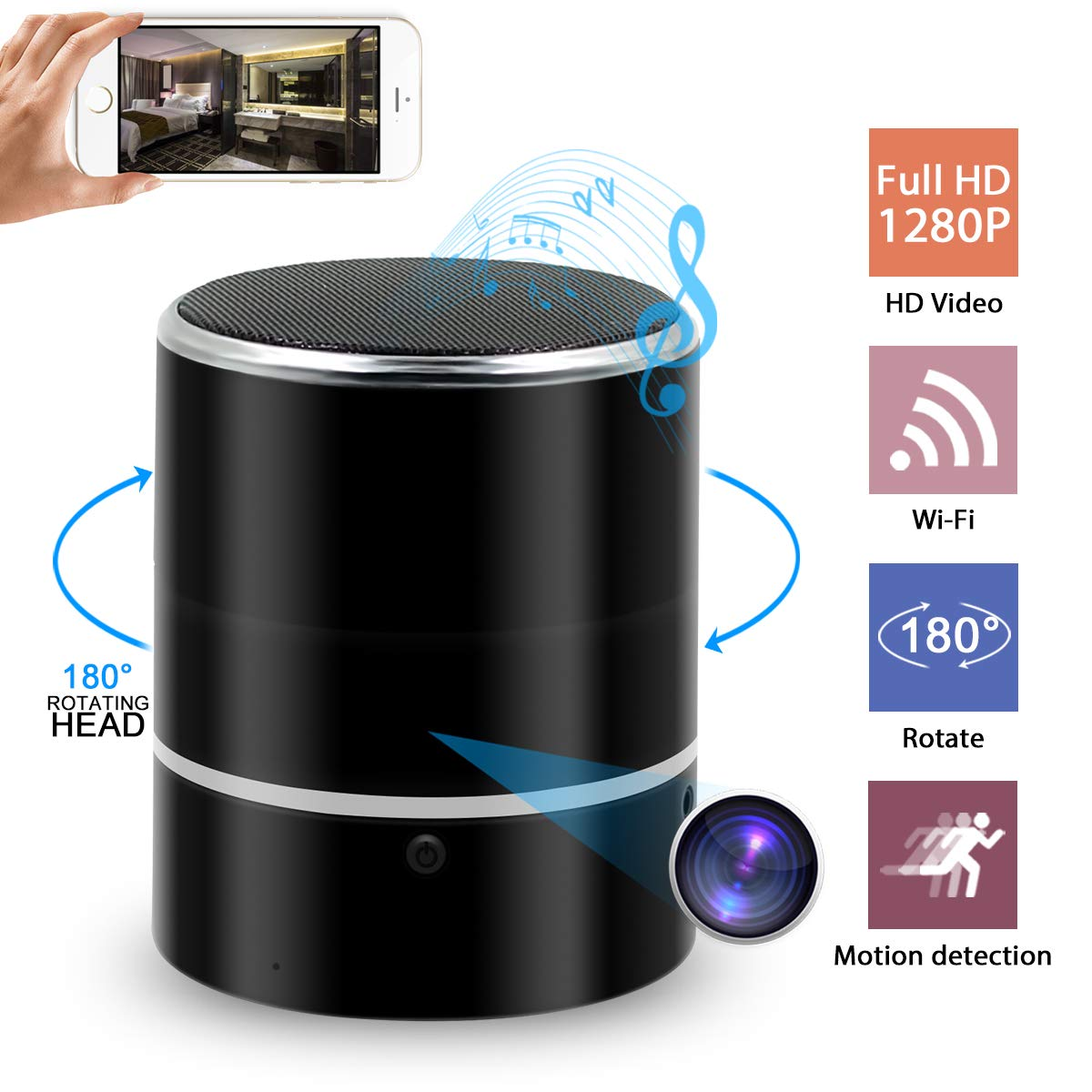 Hidden Camera Spy Camera Bluetooth Speaker, WiFi HD 1080P DVR Rotate 180°Lens Remote View Music Player Security Camera Night Vision Motion Detection for Home Office by NANIBO