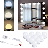 Upgraded Hollywood Style Vanity Mirror Lights Kit, 10 Dimmable LED Bulbs with 3 Color Modes, Best for Makeup Dressing…