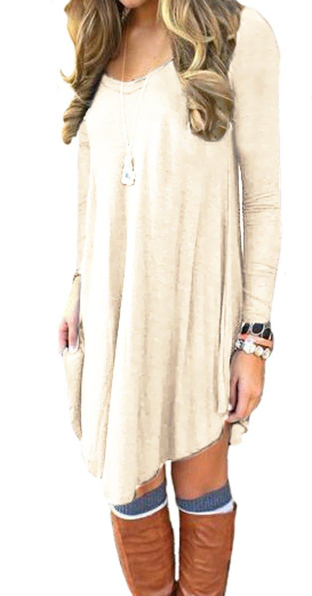 DEARCASE Women's Long Sleeve Casual Loose T-Shirt Dress Beige M