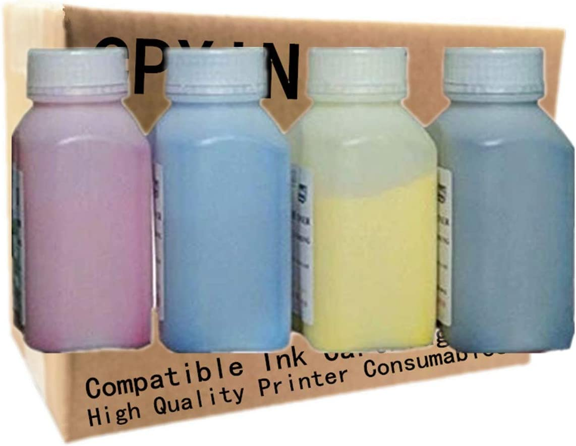 Refill Color Laser Toner Powder Kits for HP Laserjet Pro MFPM277dw MFPM277n MFP-M252dw MFP-M252n MFP-M277dw CF400A Laser Printer Toner Powder (40g/Bottle,No Chips,1 Black,1 Cyan,1 Magenta,1 Yellow)