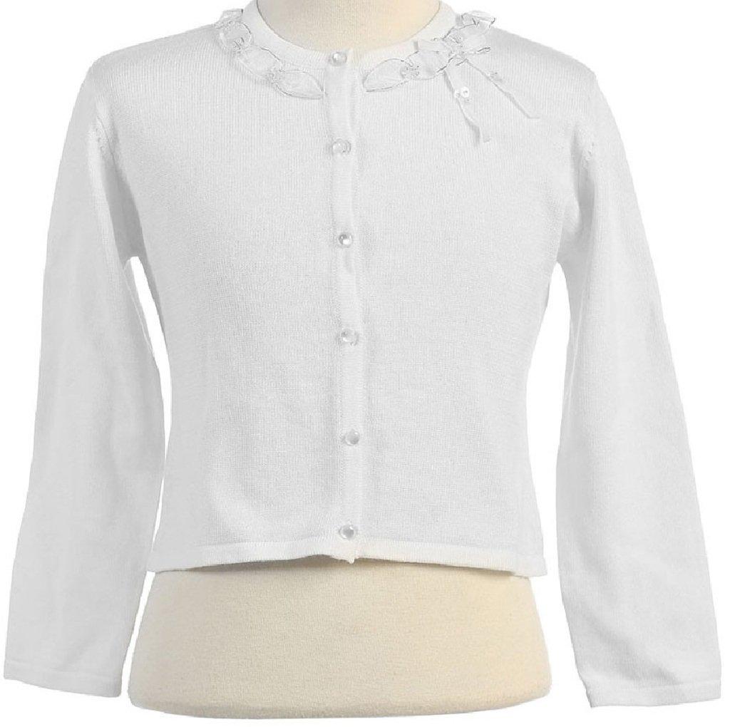 Little Girls Adorable Cute Soft Long Sleeve Ribbon Ruffle Design Cardigan White Size 4