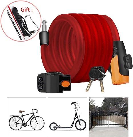 KuaiKeSport Candado Bici,Cadena Bici Alta Seguridad con Portabidones Ciclismo/Abrazadera de Soporte,Cadena Bicicleta para Candado Moto Bicicleta Cable y Vehículos Eléctricos de Bicicleta,Red: Amazon.es: Deportes y aire libre