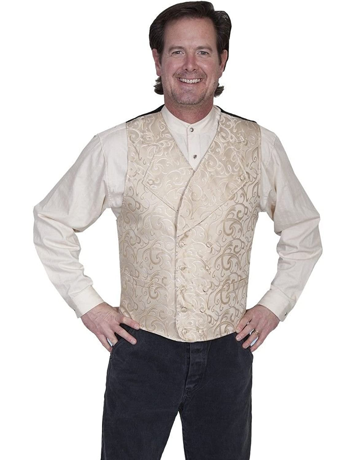 Men's Vintage Inspired Vests Rangewear By Scully Mens Rangewear Vine Scroll Vest - Rw252-Red $50.81 AT vintagedancer.com