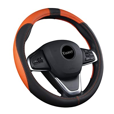 Yuauy 15inch Auto Car Steering Wheel Cover Microfiber Leather Breathable Anti-Slip Universal Steering Wheel Cover (Black&Orange): Automotive