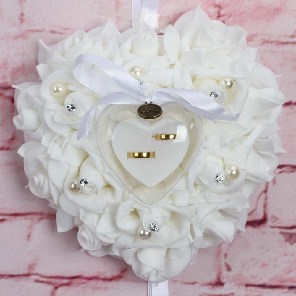 UMIWINI Contenitore di monili Romantico del Cuscino dell'anello del Cuore dell'anello di Cerimonia Nuziale della Rosa