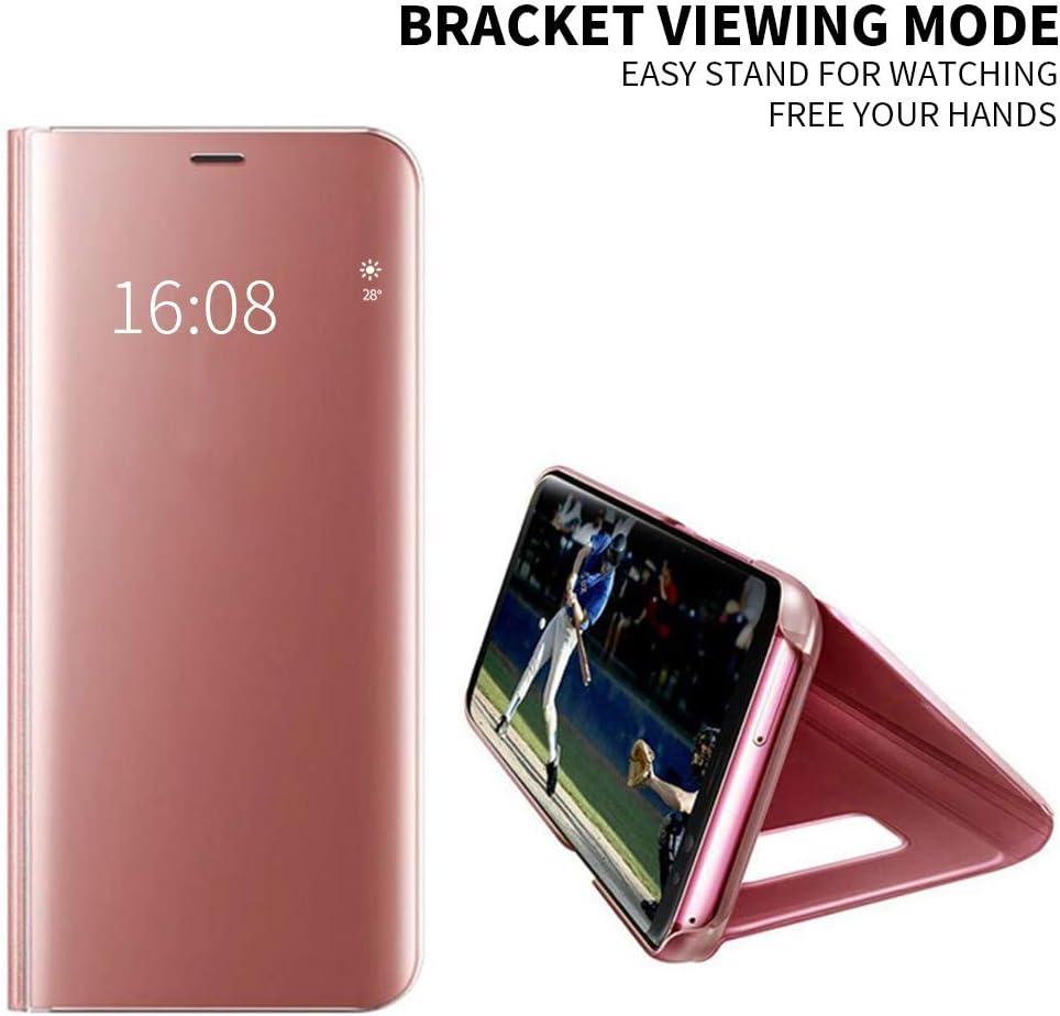 Fundas de Espejo Elegante Brillante Standing Flip Carcasa Cover Carcasa Funda Case para Xiaomi Redmi Note 6 Pro Plata Protector Pantalla MadBee Funda Xiaomi Redmi Note 6 Pro