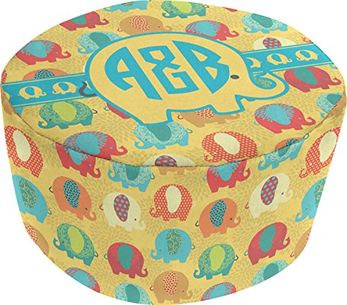 Cute Elephants Round Pouf Ottoman (Personalized) by RNK Shops