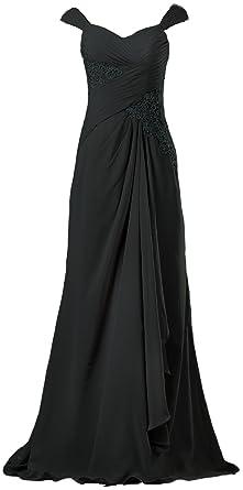 50b670dcf21 ANTS Women s Vintage Chiffon Cap Sleeve Long Evening Dresses Gown Size 2 US  Black