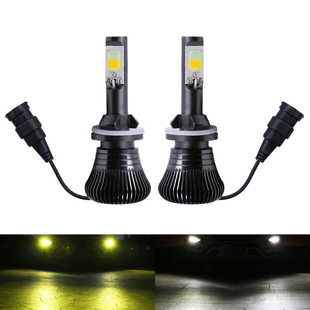 H1 Fog LED Light Bulbs Amber Yellow 3000K White 6000K Dual Color for Trucks Cars Lamps DRL Daytime Running Lights Kit Replacement Bulb 12V 30W 2800LM Super Bright COB Chips 1 Year Warranty【1797】