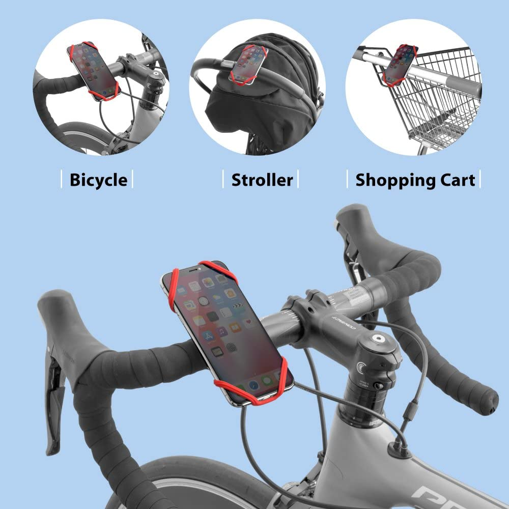Bone Bike Tie X Universal Bike Phone Mount 4 to 6 Inch Smartphone Black Bicycle Handlebar Stroller Cell Phone Holder for iPhone 8 7 6s Plus 5 SE Samsung Galaxy S8 S7 Note 6