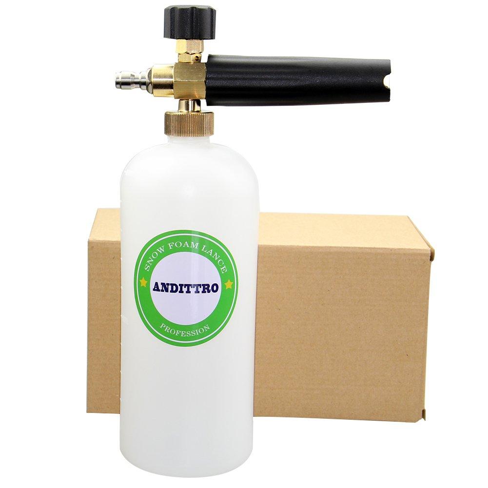 ANDITTRO Foam Cannon, Car Wash Cannon Foam Soap High Pressure Washer Gun Kit 1/4'' Quick Release Adjustable Snow Foam Lance Tools