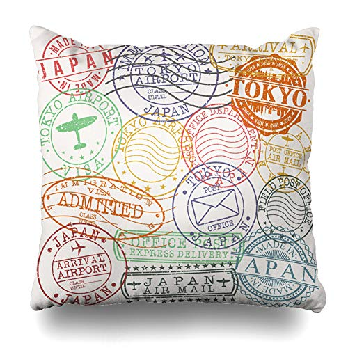 Ahawoso Throw Pillow Covers Red Travel Tokyo Stamp Postal Famous Asia Classic Color Culture Damaged Design Insignia Zippered Pillowcase Square Size 18 x 18 Inches Home Decor Cushion Case