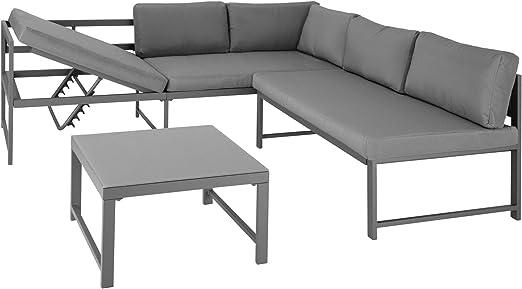 TecTake 403214 Conjunto de Muebles Faro Gris, Mesa con Tablero de Cristal, Estructura Aluminio, Set Inoxidable, Combinación Versátil, Incl. Cojines, para Jardín Patio Exterior: Amazon.es: Jardín