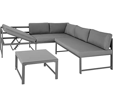 TecTake 403215 Conjunto de Muebles de Exterior Faro Gris, Mesa, Estructura de Aluminio, Set Inoxidable, Combinación Versátil, Incl. Cojines, para Jardín Patio Exterior: Amazon.es: Jardín